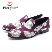 new arrival Purple jacquard fabric with White flowers handmade men loafers party and prom men dress shoes plus size men's flats