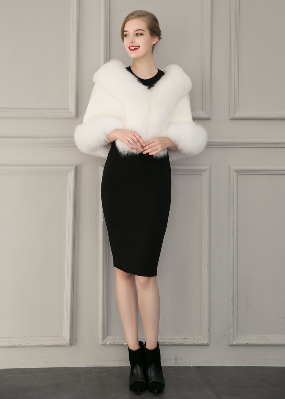 Europe and America autumn and winter new imitation fur bride dress bridesmaid fur shawl cape coat (9)
