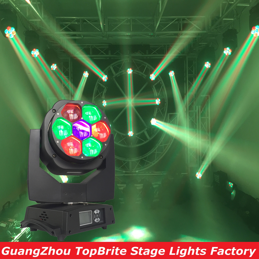 2016 Free Shipping High Quality 7x15 RGBW 4IN1 Zoom Wash Beam LED Bee Eyes Moving Head Lights For Stage Dj Disco Laser Light laser head owx8060 owy8075 onp8170
