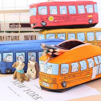 Nueva funda Coreana de lápiz con coche de lona de gran capacidad estuche escolar papelería estojo escolar suministros papelería
