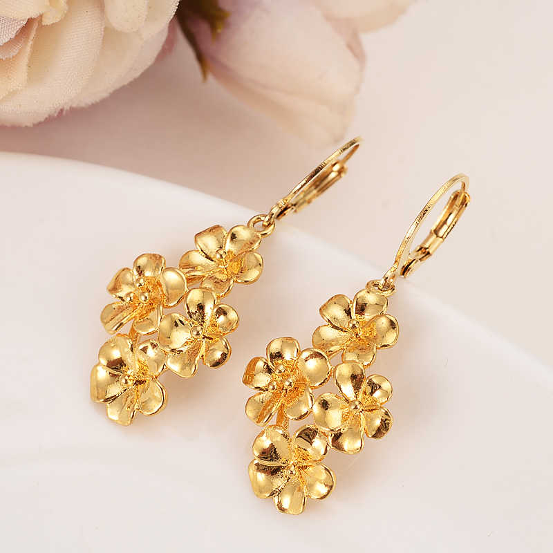 gold flower drop earring Ethiopian/Nigeria/Kenya /Ghana  Gold color Dubai african Arab Middle Eastern Jewelry Mom girl  Gifts