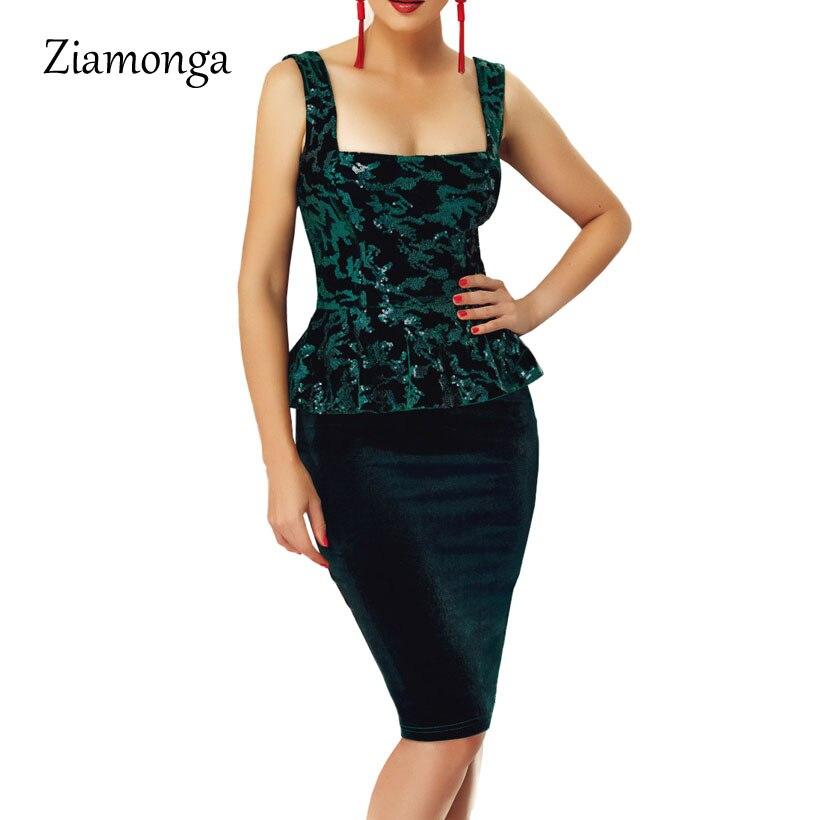 aea52904fd Ziamonga Fashion Sequined Midi Dresses For Party Elegant Office Dress  Vestidos De Trabajo Mujer Sleeveless Peplum