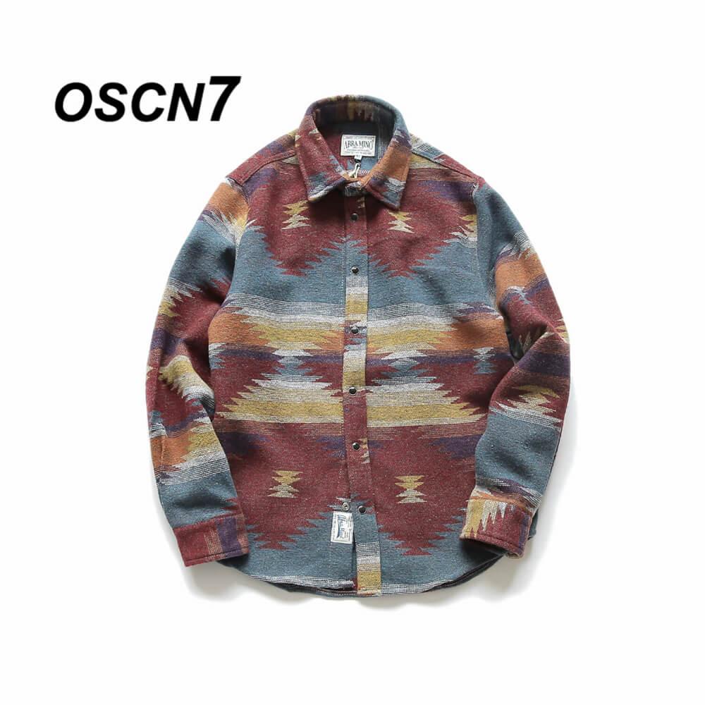 OSCN7 Folk-custom Shirts for Men Vintage Woolen Leisure Pattern Shirt Men Plus Size Streetwear Chemise Homme