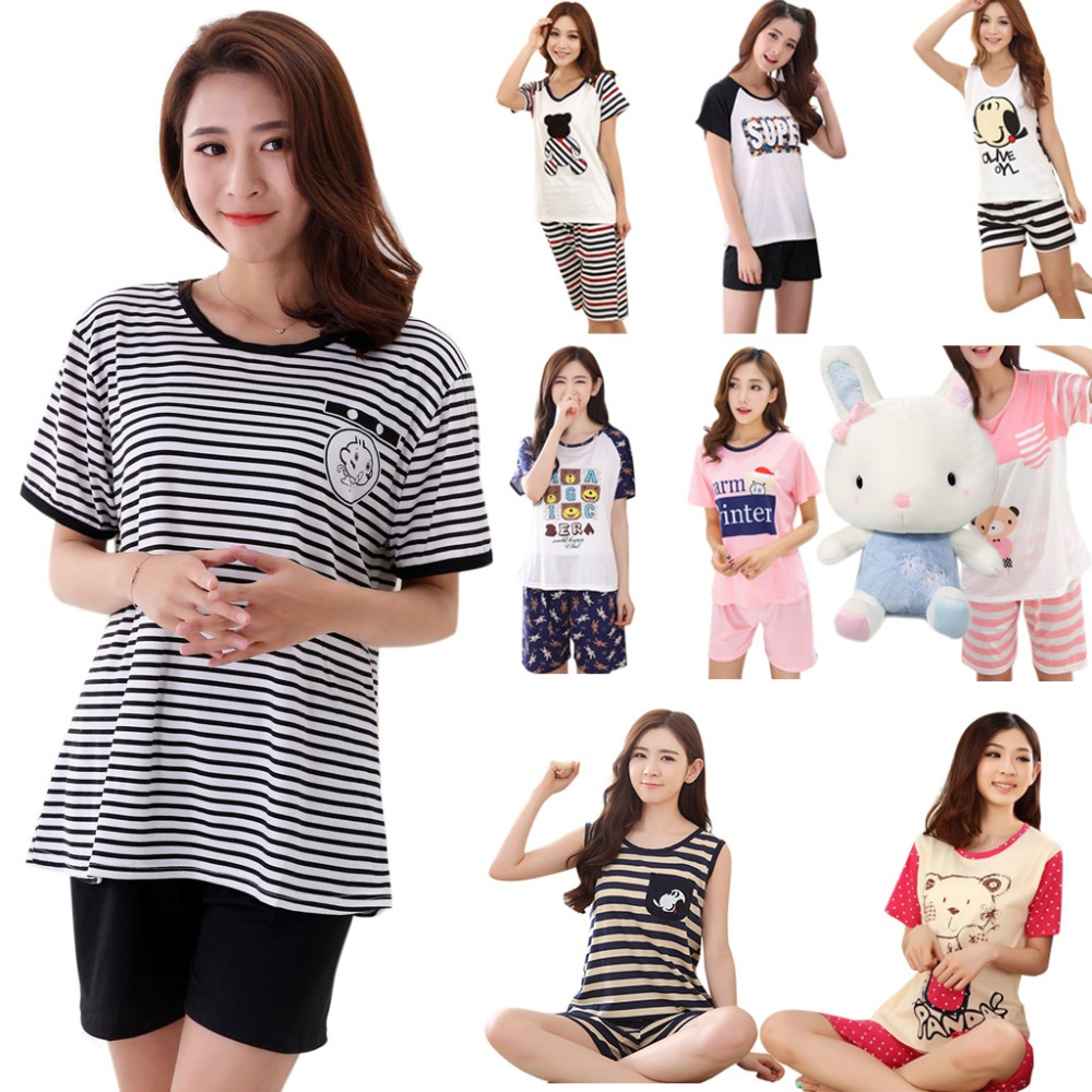 Women Girls Plus Size   Pajamas     Set   Summer Short Sleeve Cartoon Print Sleepwear