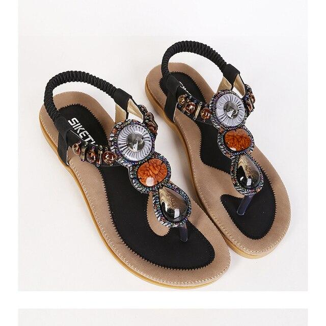 28413f80cfa1c7 Big Size 35-41 Europe Hot 2015 Bohemian Women Sandals Gemstone Beaded Slippers  Summer Sandals Women Ladies Flat Sandals Shoes
