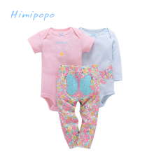 HIMIPOPO 3pcs Cartoon Baby Boys Girls Clothes Set Baby Bodysuits Children Set 2 Baby Romper 1