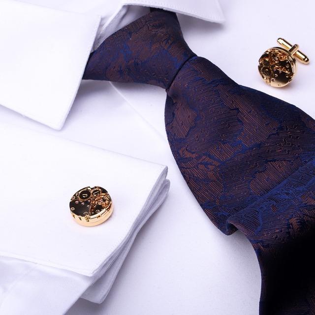 Maishenou Shirts Punk Mechanical Cufflinks Men's Cuff Links Male Buttons Color Gold High