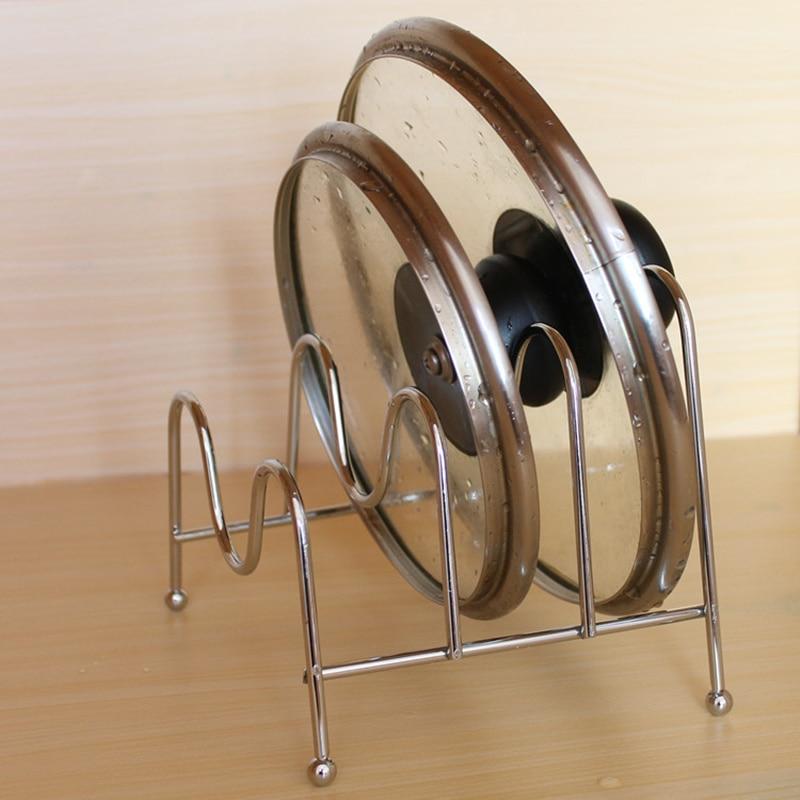 three layer metal pot lid cutting board shelf dish rack holder kitchen organizer pan cover lid. Black Bedroom Furniture Sets. Home Design Ideas