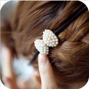 YouMap Retro Simple Cute Pearl Bowknot Hairbands Simulated-pearl Bow Hair Accessories For Women A5R9