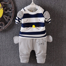 Boy suits striped mice autumn models of child long-sleeved two-piece suit children's clothing set