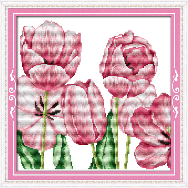 Pink Tulips 4 11CT 14CT Counted Cross Stitch Pattern Kits For Embroidery