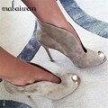 Mujeres Peep Toe Botines de Cuero de Gamuza Venta caliente Profunda V frontal Señoras Tacones Altos Resbalón de los Zapatos de Vestir de Moda de Las Mujeres bombas
