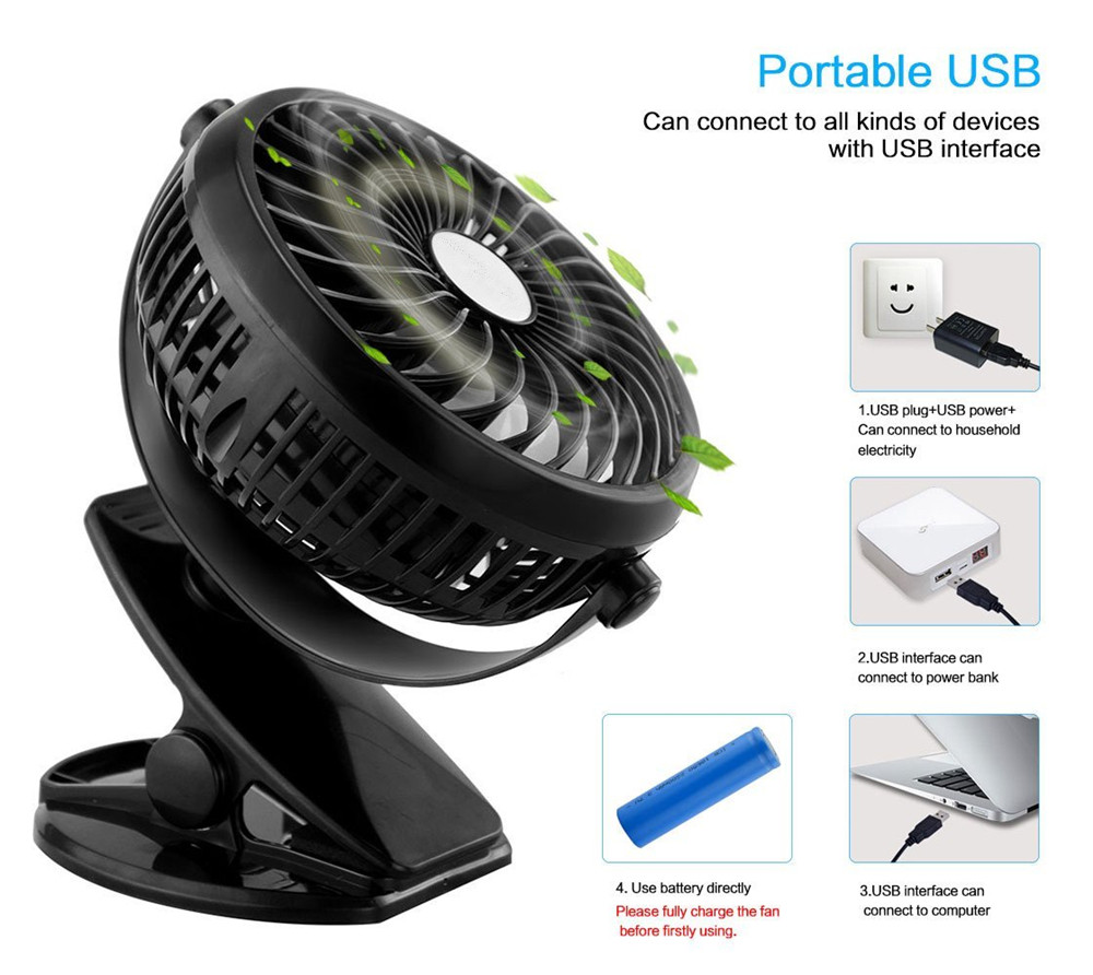 Rechargeable Portable Clip Mini Fan 360 Degree Rotation Desktop USB Fan Mute Baby Stroller Fan for Home Office Outdoor Travel