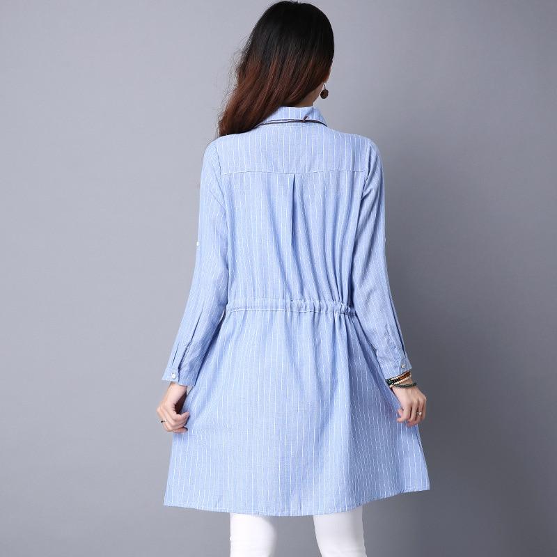 Camisa elegante Vestidos Mujer Verano Algodón Lino Camisa suelta - Ropa de mujer - foto 3