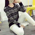 Autumn Winter Fashion O Neck Thick Casual Knitted Sweater Women Clothing Brand Plus Size Geometric Loose Long Sleeve Pullover