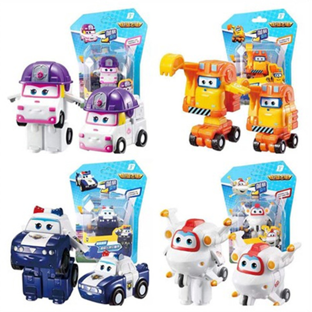 2018 NEW 4PCS/SET Super Wings Mini Planes Deformation Airplane Robot Action Figures Transformation Toys for Christmas gift