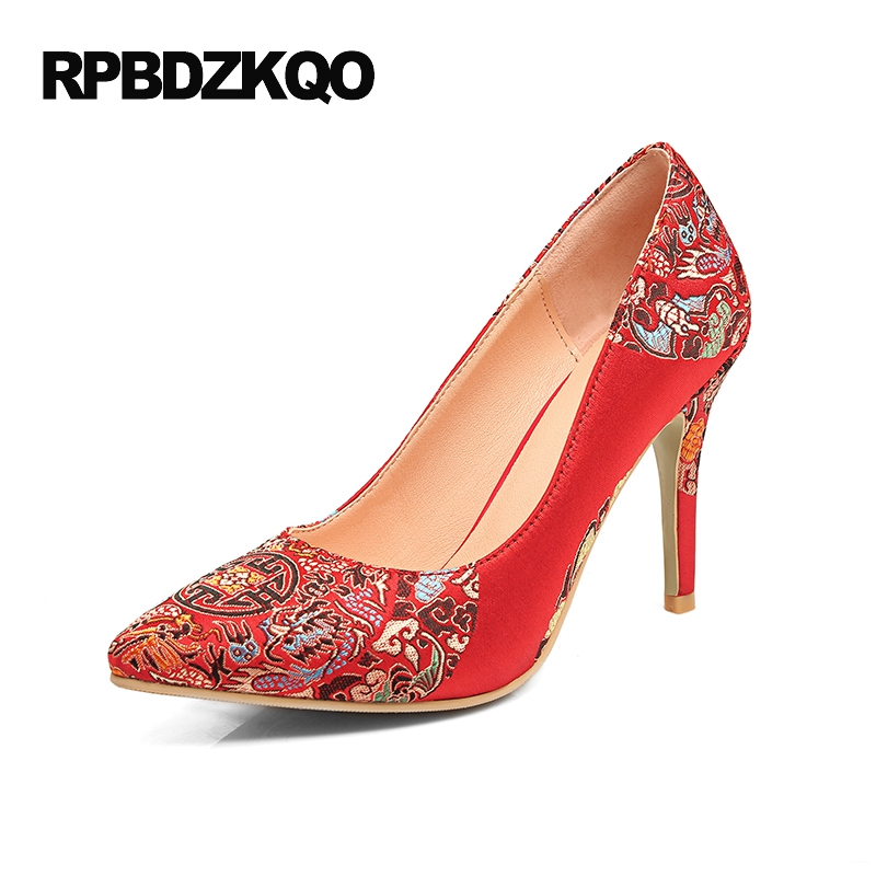 Size 33 Pumps Pointed Toe Satin Embroidered 3 Inch Big Cheap Red High Heels Shoes Scarpin 11 43 Ladies 4 34 Wedding Embroidery 4 34 small size gold shoes wedding pointed toe 7cm 3 inch satin high heels stiletto 33 flower pumps ladies colourful embroidery