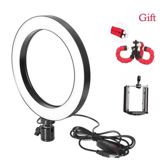 Photographie LED Selfie lumière annulaire 16/26cm trois vitesses éclairage continu réglable avec tête de berceau pour maquillage vidéo Studio en direct