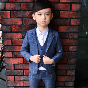 ActhInK 2018 New 3PCS Kids Plaid Wedding Blazer Suit Brand Flower Boys Formal Tuxedos School Suit Kids Spring Clothing Set, C298 1