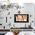 Clássico preto da videira da flor tv fundo papel de parede decalques zooyoo027S decorativo adesivo de parede removível diy pvc adesivos de parede