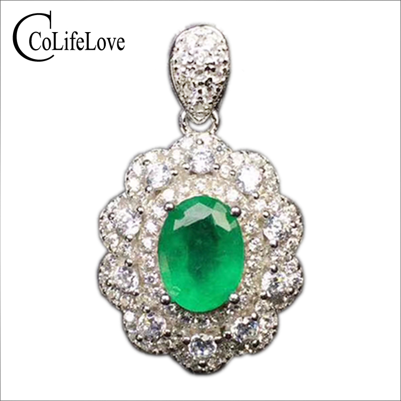 Vintage emerald necklace pendant for wedding 6 mm * 8 mm 1 ct natural emerald pendant 925 sterling silver emerald jewelry цена