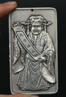 85MM/3.3 Collection Chinese Bronze Exquisite Taoism Mammon Money Wealth God Two sided Sculpture Pendant Statue Statuary 166g