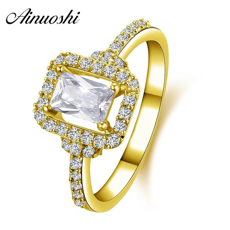 AINUOSHI 10K Solid Yellow Gold Wedding Ring Joyeria Fina Customized 1 CT Rectangle Cut Simulated Diamond Women Engagement Rings цена