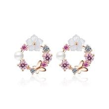 Sweet Flower Shell Carving Stud Rhinestone Earring For Women