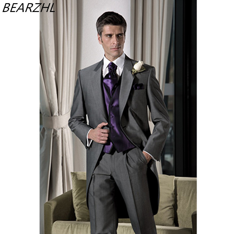 férfi 2019 ruha öltöny férfi öltöny szürke egyedi készítésű szmoking hosszú farok kiváló minőségű ruhát