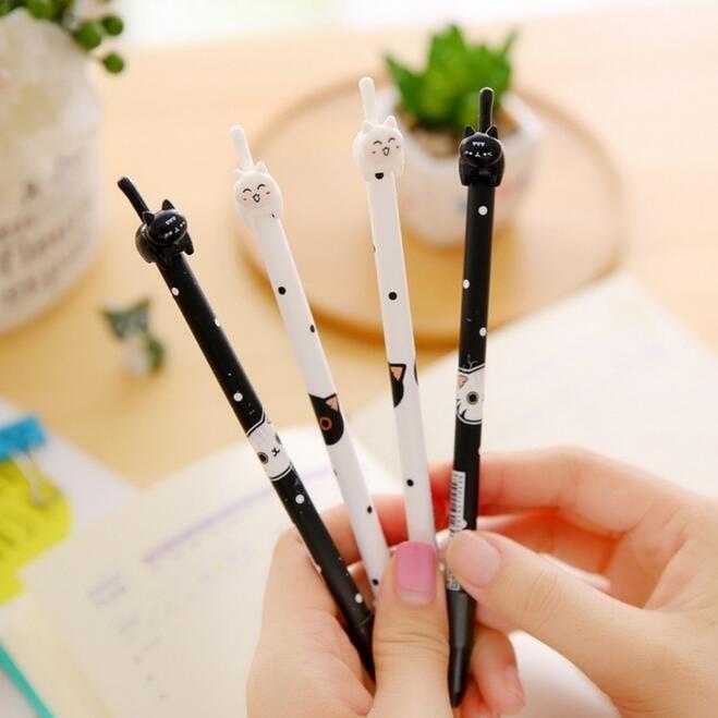 36pcs/lot Novetly Kawaii 3D Tail Cat Design  0.38mm Black Ink Gel Pen DIY Signature Pen Office School Supplies