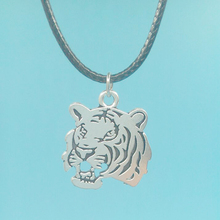 "27X24 mm Tiger Head Pendant Necklace With 18""Leather Chain Choker Collar Vintage Silver Charms Jewelry Christmas Gift"