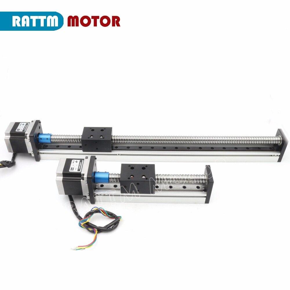 CBX1605 husillo de bolas lineal etapa actuador 100/200/300/400/500/600mm y cuadrado lineal riel + Nema23 Motor paso a paso para CNC XYZ eje