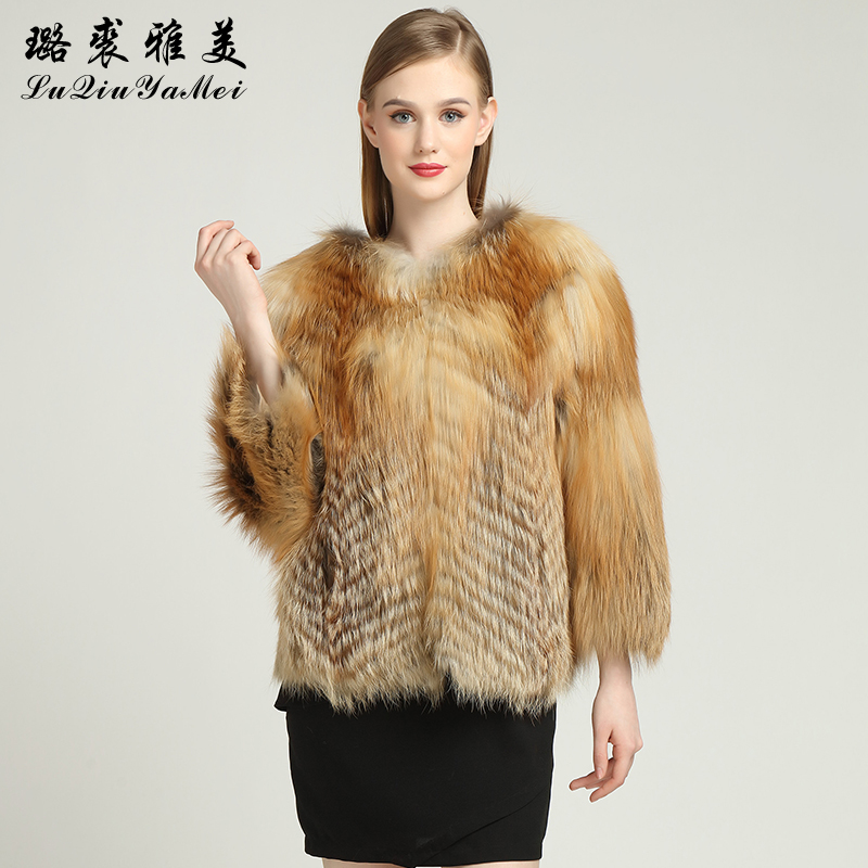 Red Fox Fur Coats Weibliche Naturfuchsfelljacken Short Style Can - Damenbekleidung - Foto 2