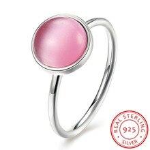 Ventas calientes 925 Sterling Silver Pink Opal Anillos de Dedo de Las Mujeres Joyería Fina Regalo de Boda bonito Tamaño 6 #7 #8 # de Calidad Superior