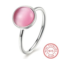 Hot Sales 925 Sterling Silver Pink Opal Finger Rings Women Fine Jewelery Pretty Wedding Gift Size 6 # 7 # 8 # Top Quality