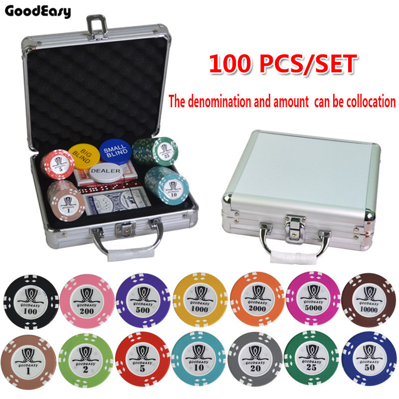 100-500PCS/SET 15.5g AOM Poker Chips Sets Clay Casino Chips Texas Hold'em Poker Sets With Metal Box Table Cloth Button Set 600 1000pcs box 14g clay chips sets with acrylic box casino crown poker 14 colors texas hold em poker chips cheap factory price