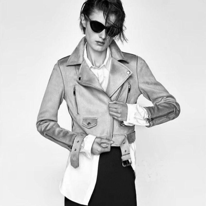 2018 New Hot Autumn Winter Women Soft Suede Faux Leather Jackets and Coats Lady Matte Biker Zippers Belt Black Yellow Outerwear