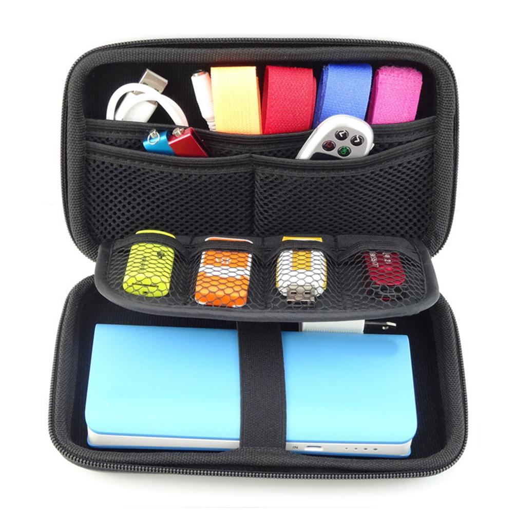 Hot Portable USB Flash Hard Disk Drive Data Cable Power Bank Carry Storage Case Bag