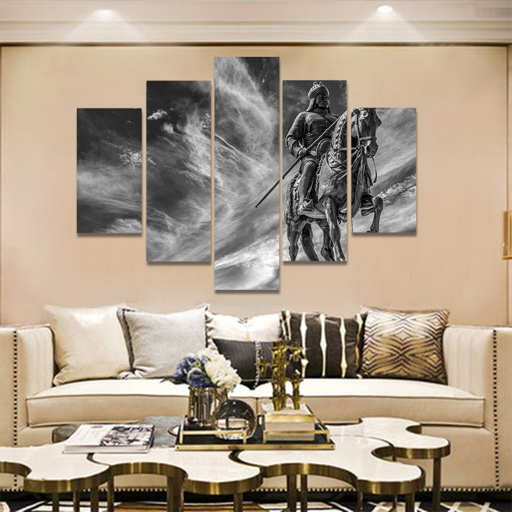 Unframed Canvas Painting Black White Riding Soldier Sculpture Picture Prints Wall Picture For Living Room Wall Art Decoration