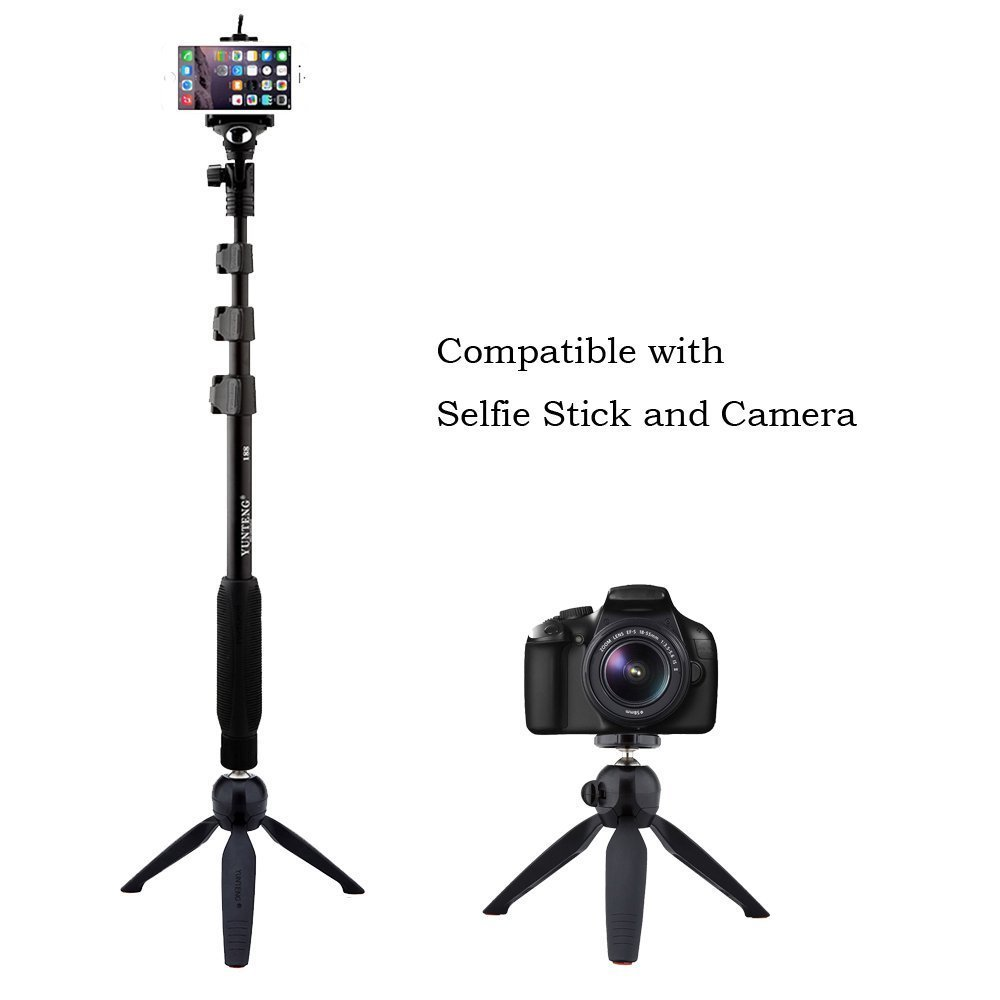 YunTeng YT-228 Mini Tripod Mount+Phone Holder Clip,for Digital Camera and iPhone 6/6 Plus/5S/5C/5 for Samsung Cellphones