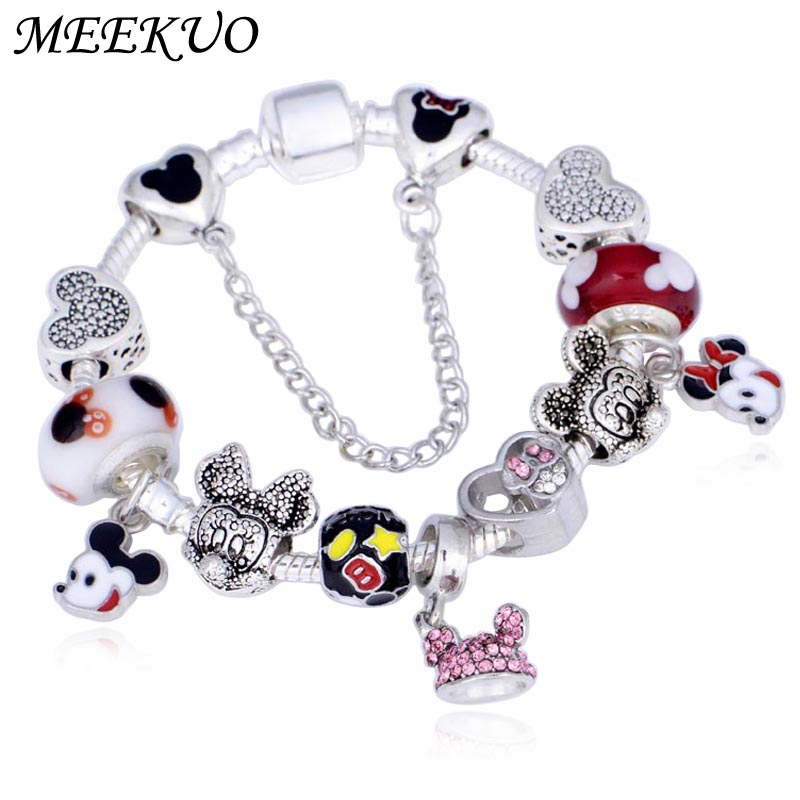 fa7854c83 Meekuo Dropshipping Carton European Charm Bracelets with Mickey Beads Fit  Pandora Bracelet for Children Gift
