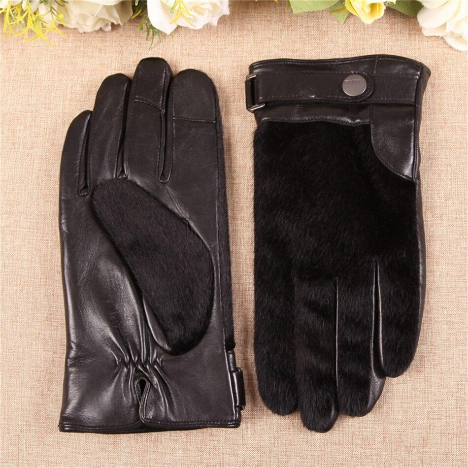 Hommes de haute qualité en peau de mouton écran tactile gants Simple atmosphère automne et hiver gants en cuir poignet 3-EM018NQF1