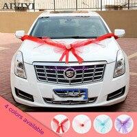 4 colores opcionales arco de coche de boda 360cm crepe tul Bowknot espuma rosa (púrpura, azul, rojo, rosa) decoración del coche de la boda set
