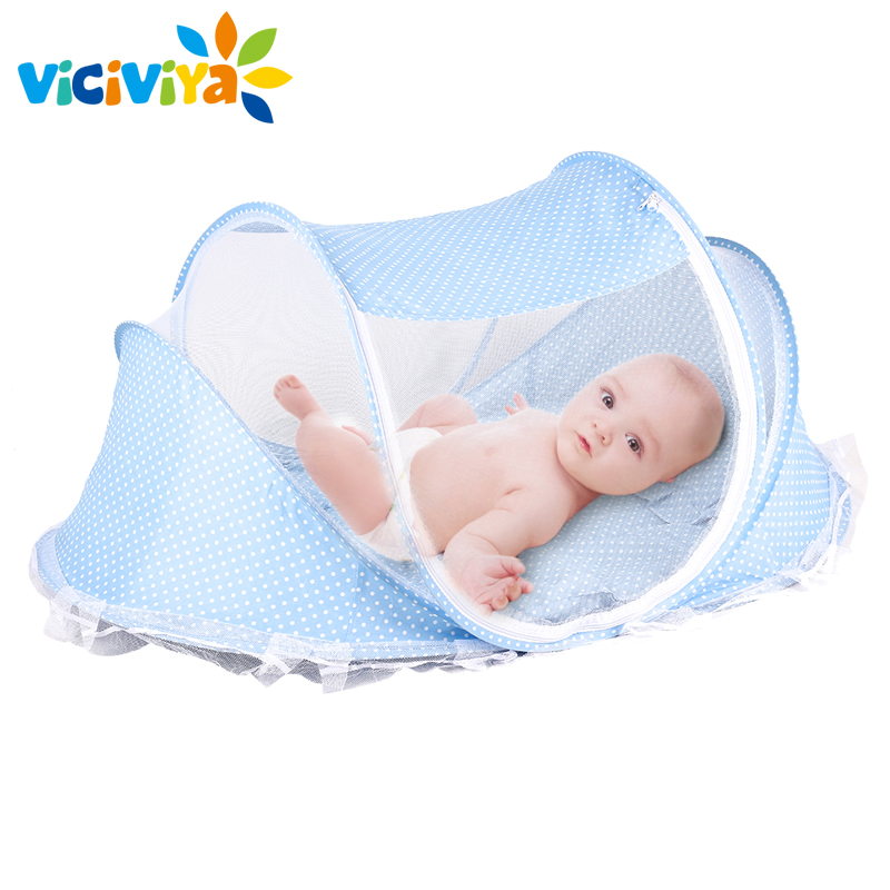 4pcs/lot Baby Crib Bed With Mattress Pillow Set Portable Folding Crib Netting Newborn Bedding Travel Sleep Mosquito Net Bed(China)