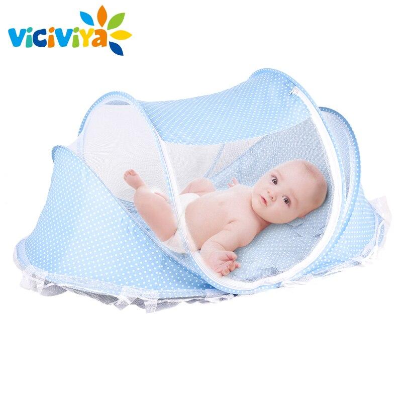 bae4a6b8c 4pcs lot Baby Crib Bed With Mattress Pillow Set Portable Folding Crib  Netting Newborn Bedding Travel Sleep Mosquito Net Bed