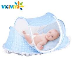 Детская кроватка детская кровать с Подушки Детские Коврики комплект Портативный складной кроватке с сеткой новорожденного Постельные