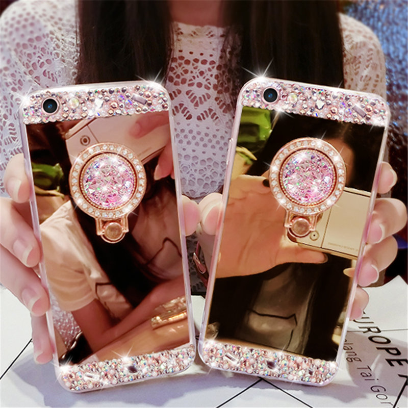 Diamond Soft Rubber Crystal Rhinestone Glitter Mirror Case With Gem Holders Stand For Samsungs4 S5 S6 S7E S8 S9P N8 N5 N4