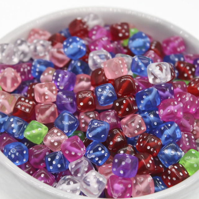 100Pcs Mixed Transparent Acrylic Dice Spacer Beads 8mmSquare Colorful Beads DIY Accessories For Jewlery Making 9 Color Choose