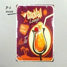 """DL-Cocktail Lounge dnes je speciální Retro Vintage Tin Sign 12 """"X 8"""""""