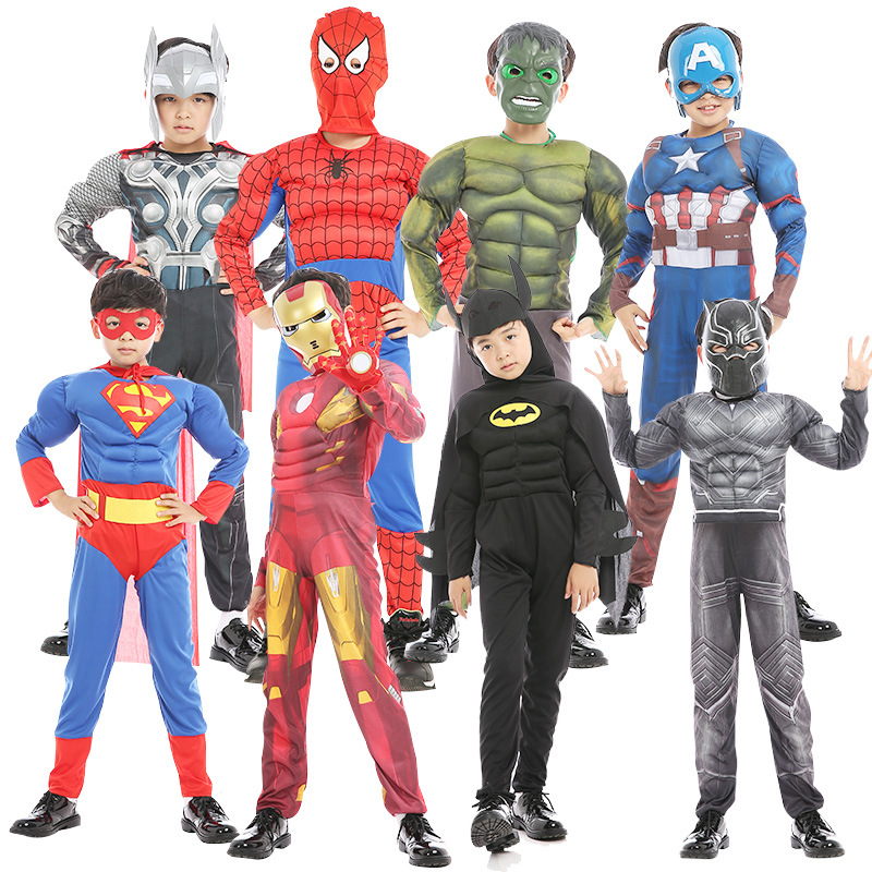 Kids Superhero Costume Cosplay Boys Captain America Superman Batman Spiderman Iron Man Hulk Thor Flash Cosplay Costume Halloween